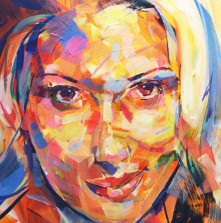 Acrylic 'Scarlett Johansson' portrait painting on canvas