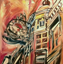 Contemporary cityscape oil painting on canvas